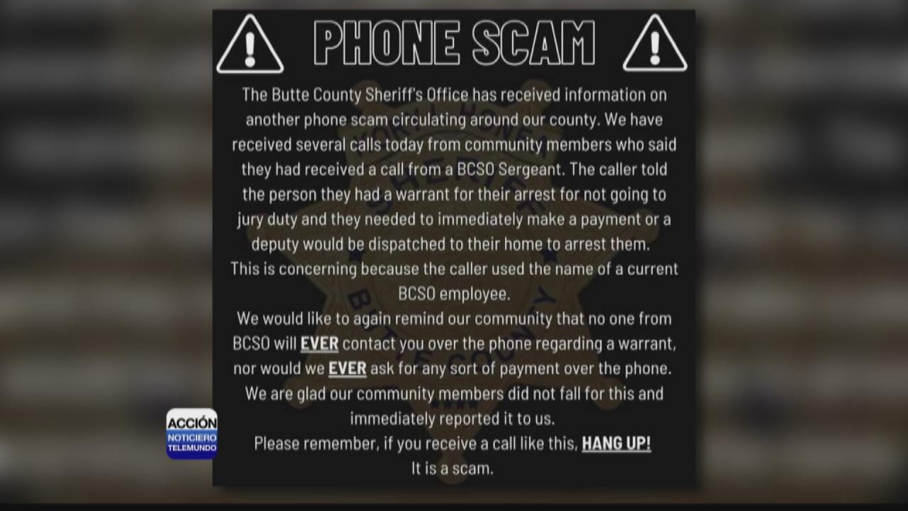 Image for Depto. del alguacil de Butte advierte sobre estafa telefónica.