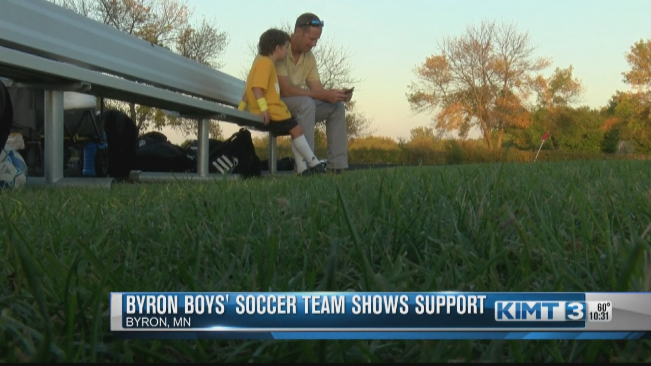 Image for The Byron Bears boys' soccer team wears yellow for childhood cancer