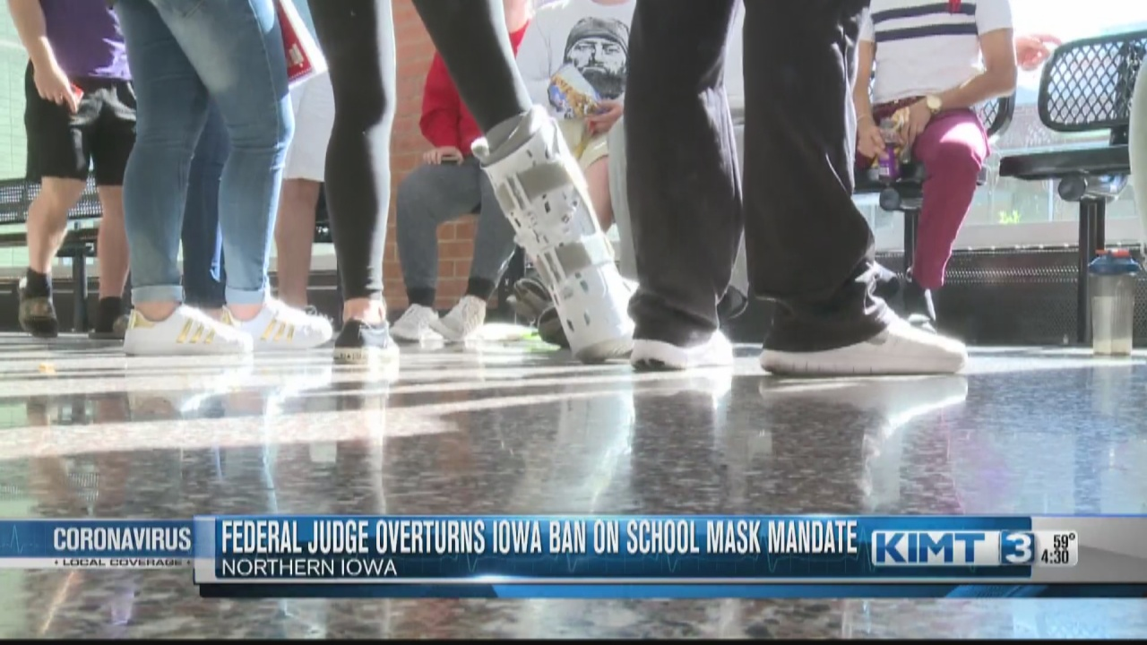 Image for Iowa Superintendent reacts to Federal judge overturning ban on school mask mandates