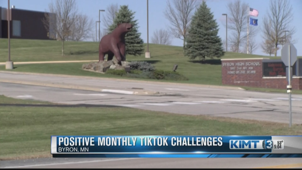 Image for Byron students and school resource officer collaborating to create positive TikTok videos