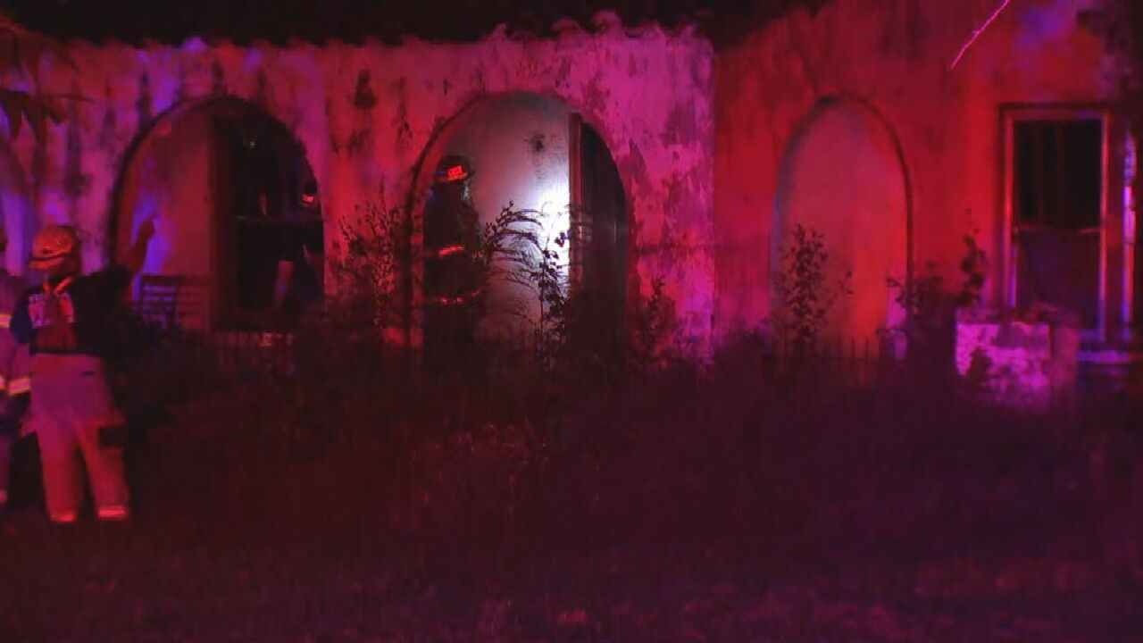 Tulsa Firefighters Battle Fire At Abandoned House