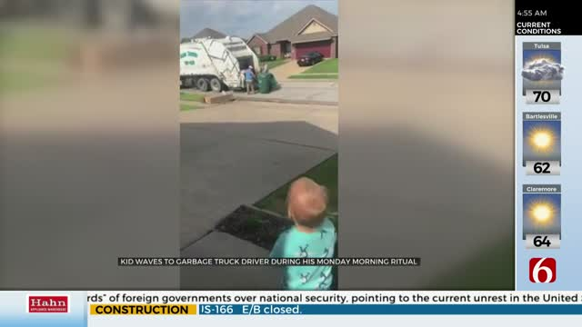WATCH: Broken Arrow Boy Excitedly Greets Garbage Truck Workers