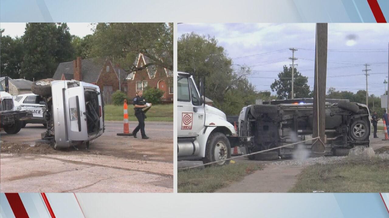 Tulsa Police Respond To Rollover Crash Near Apache, MLK Jr. Blvd