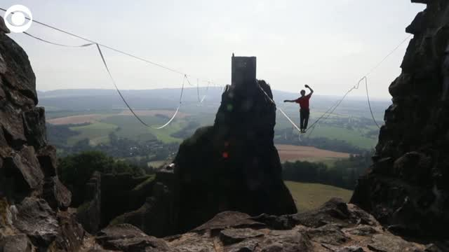 WATCH: Thrill-Seekers Participate In Highline Walk At Castle
