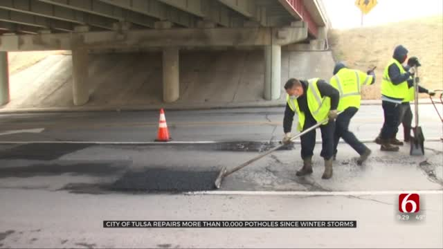 City Of Tulsa Repairs More Than 10,000 Potholes Since Winter Storms