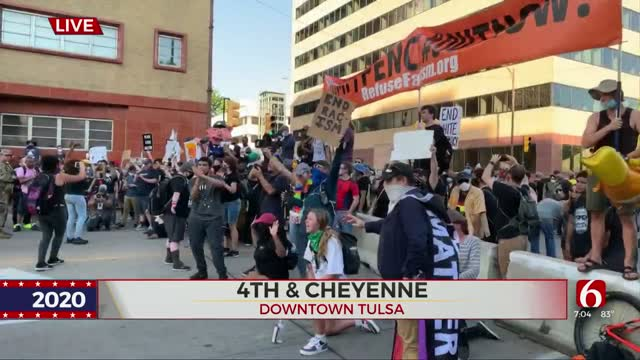 Protesters Join Together To March In Downtown Tulsa