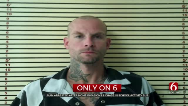 Wagoner Co Man Arrested After Home Invasions, Chase In School Activity Bus
