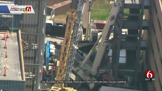 No Injuries Reported After Crane Tips Over On OSU-Tulsa Campus