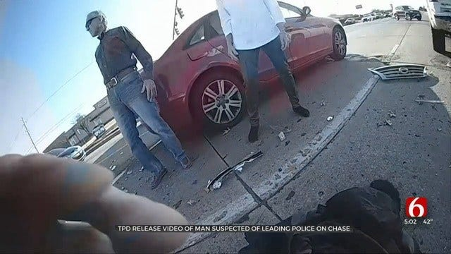 WATCH: Man Suspected Of Running From Tulsa Police Causes Chain-Reaction Wrecks