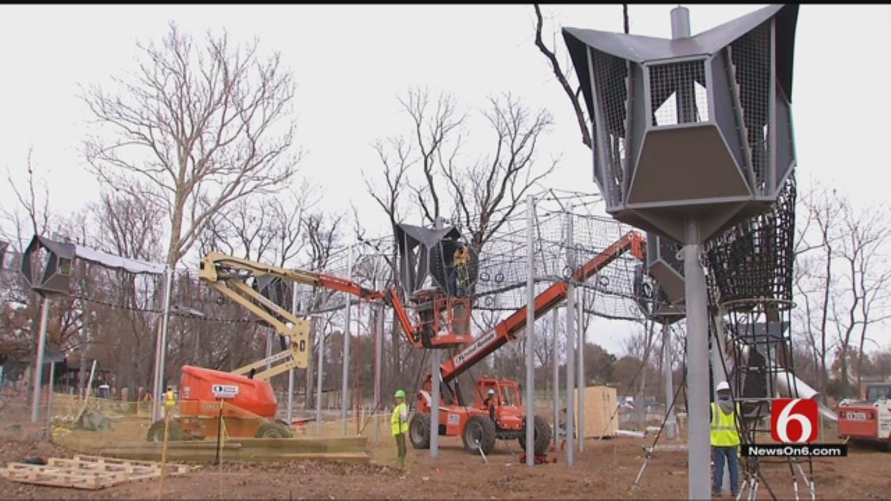 Crews Set Up First Pieces Of Playground Equipment A Tulsa's Gathering Place