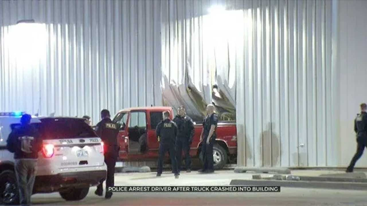 Police Arrest Driver After Truck Crashes Into Tulsa Auto Parts Store