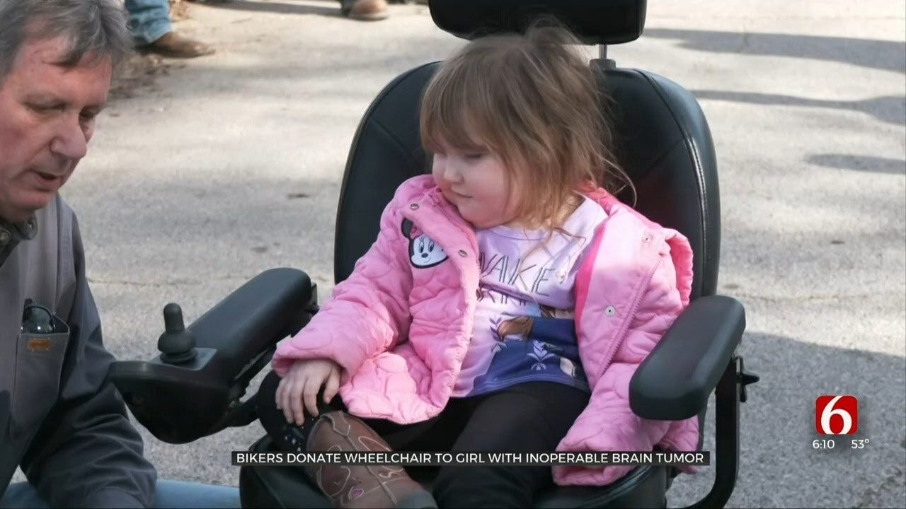 Bikers Give 5-Year-Old Girl With Rare Brain Tumor New Wheelchair