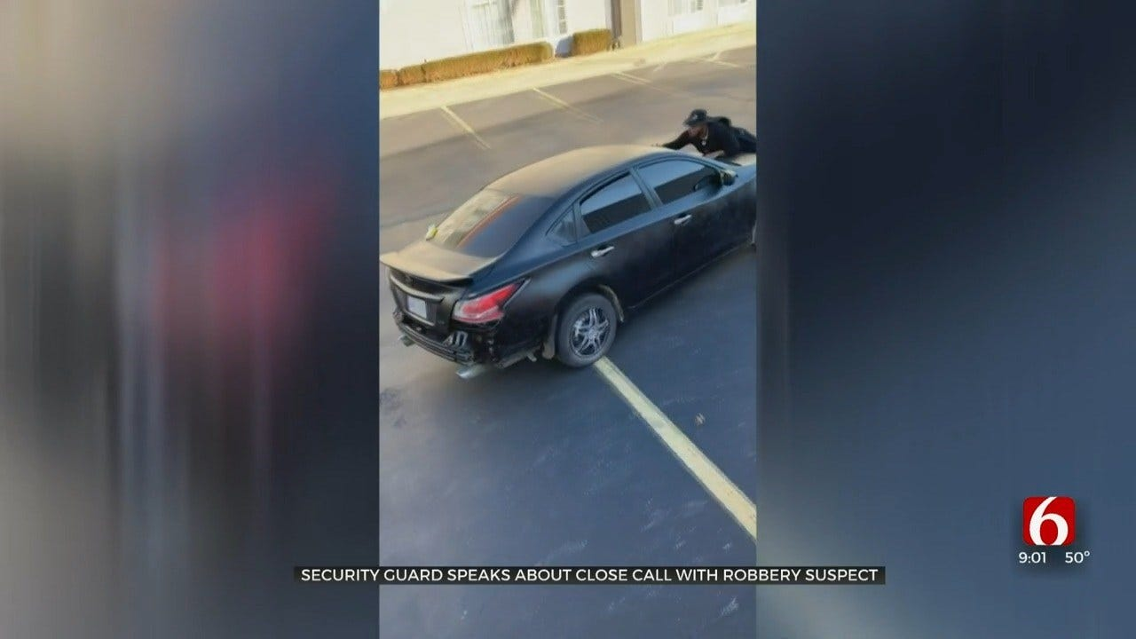 Tulsa Security Guard Assists In Arrest By Jumping On Hood Of Car