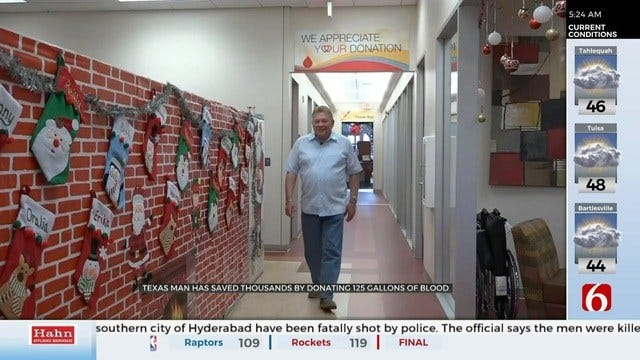 Texas Man Donates 125 Gallons Of Blood Over Years