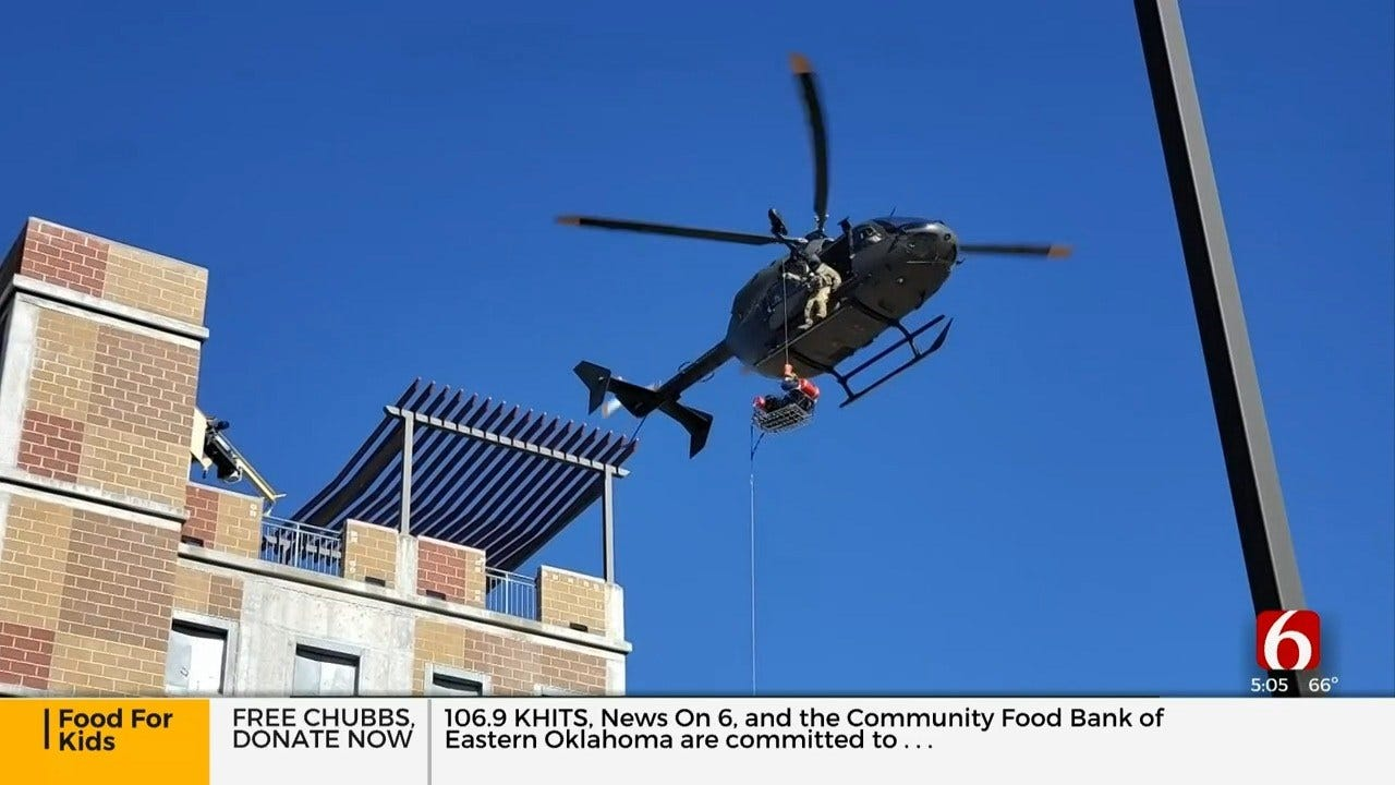 Firefighters Practice Helicopter Rescue With Oklahoma National Guard