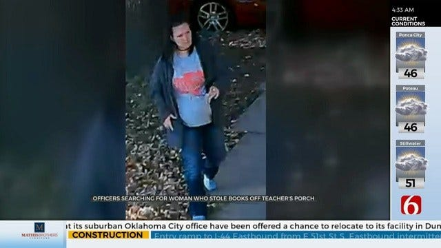 WATCH: Suspect Takes Books For Students From Teacher's Porch, Tulsa Police Say