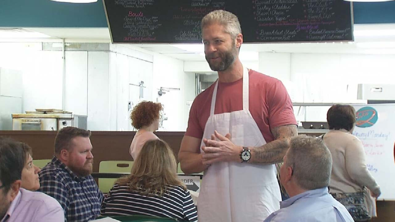 Sean 'Sticks' Larkin Serves Customers At Tulsa's Take 2 Cafe
