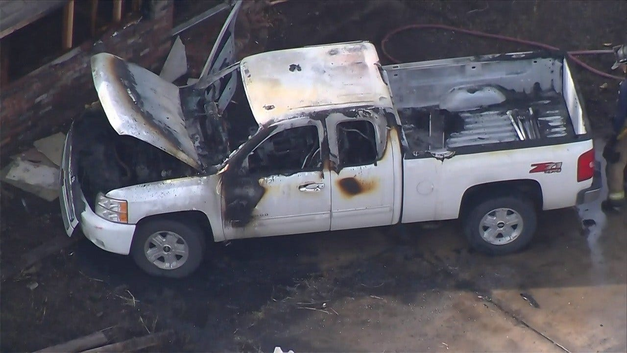 WATCH: Truck Hits Tulsa House, Catches Fire
