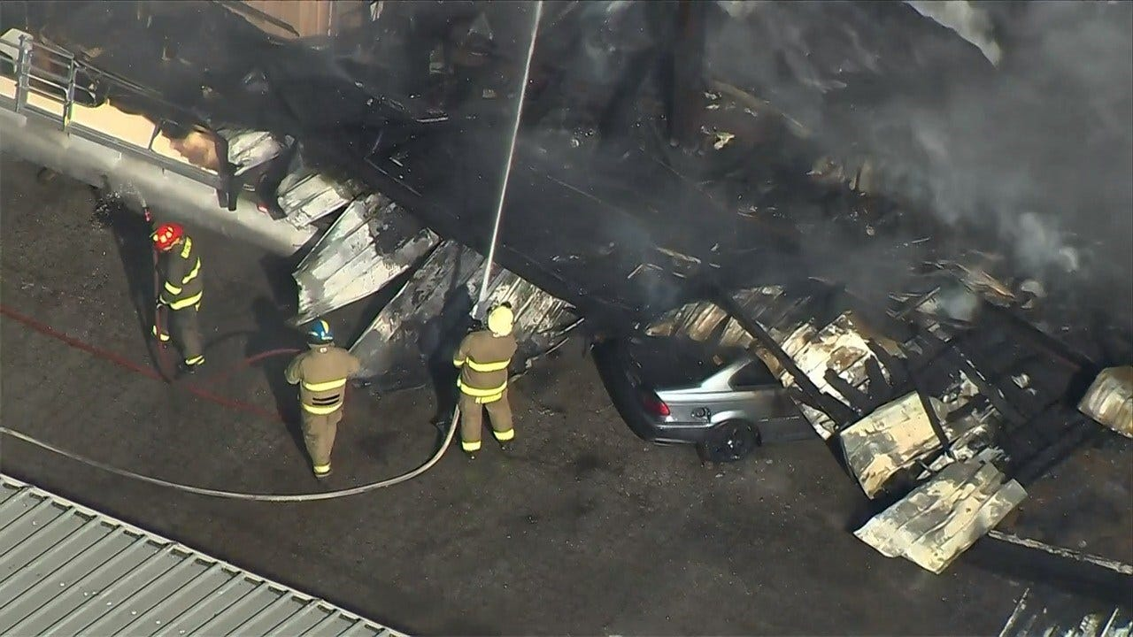 Osage SkyNews 6 HD: Fire At D&J's Auto Clinic In Wagoner