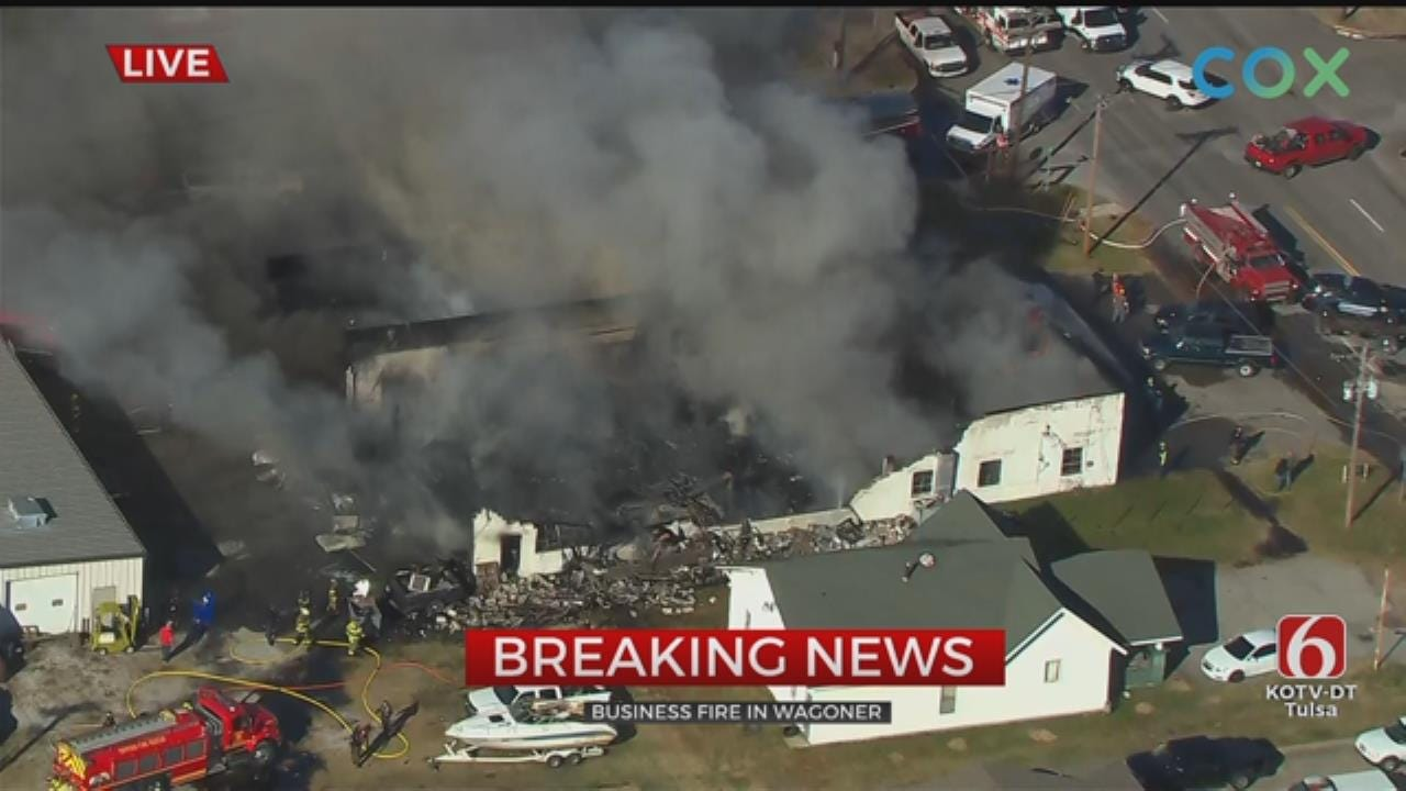 WATCH: Fire Badly Damages D&J's Auto Clinic In Wagoner