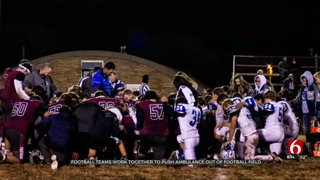 Oklahoma Football Teams Help Ambulance Stuck In Mud Transporting Injured Player