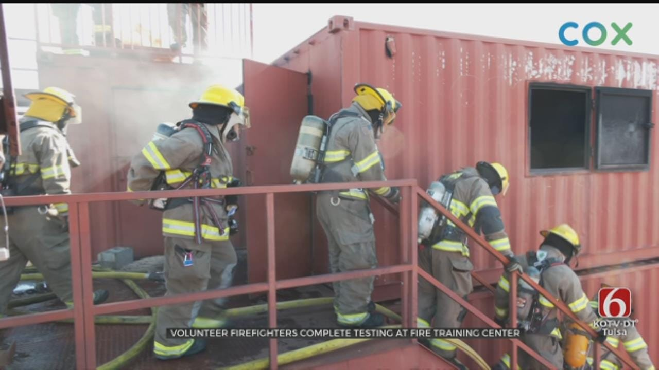 Volunteer Firefighters Complete Testing At Tulsa Fire Training Center