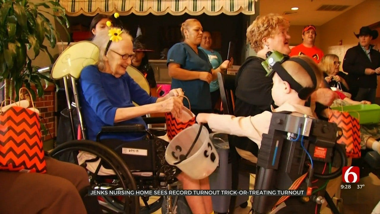 Jenks Nursing Home Residents Celebrate Halloween, Hand Out Treats