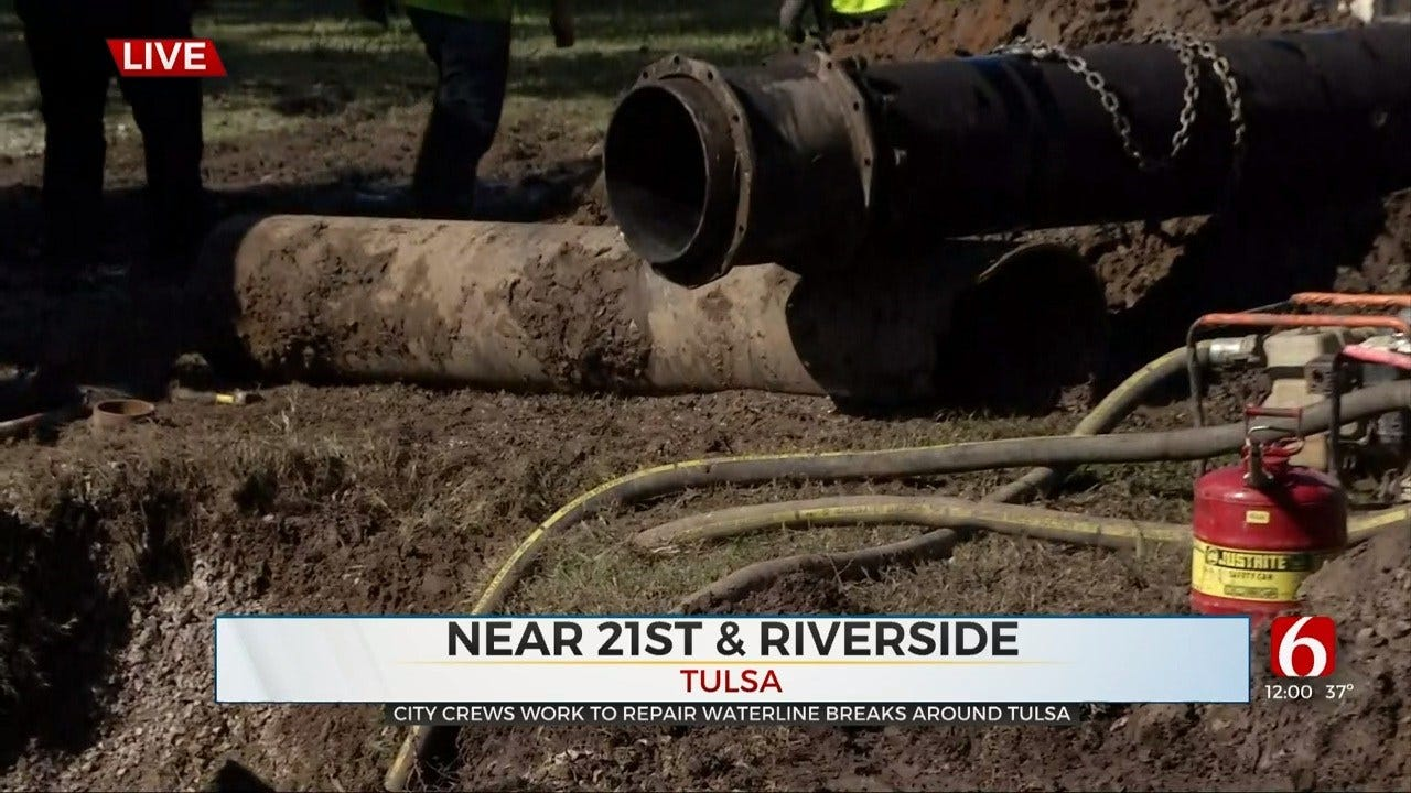 Tulsa Water Line Break Causes Outage; Freezing Water On Road