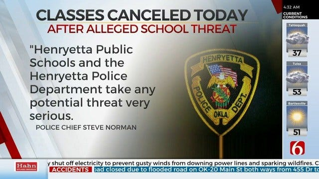 Update: Possible School Threats Not Credible, Says Henryetta Police