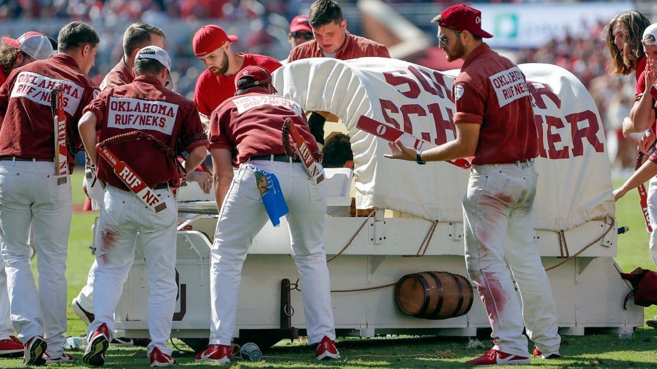 OU's Sooner Schooner Takes A Spill During West Virginia Game