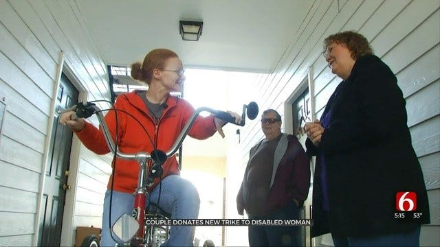 Disabled Tulsa Woman Surprised With New Bike After Hers Was Stolen