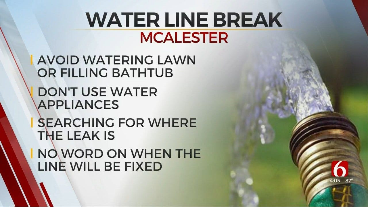 McAlester Residents Asked To Conserve Water After Major Water Line Break