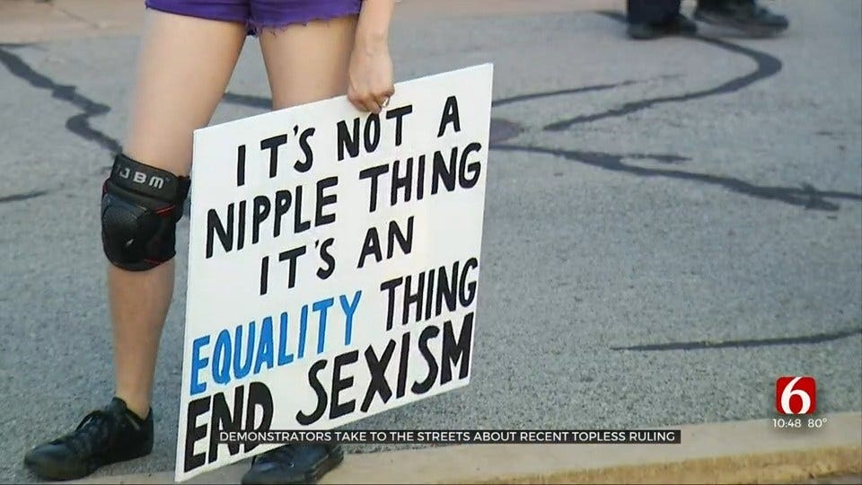 Rally Held In Tulsa After Ruling Allows Okla. Women To Go Topless In Public