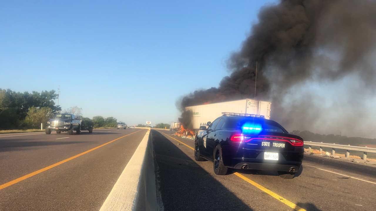 WATCH: Semi Fire On WB Turner Turnpike