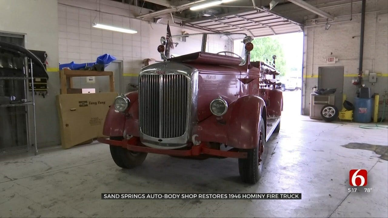 Sand Springs Body Shop Helps Preserve 1948 Hominy Fire Truck