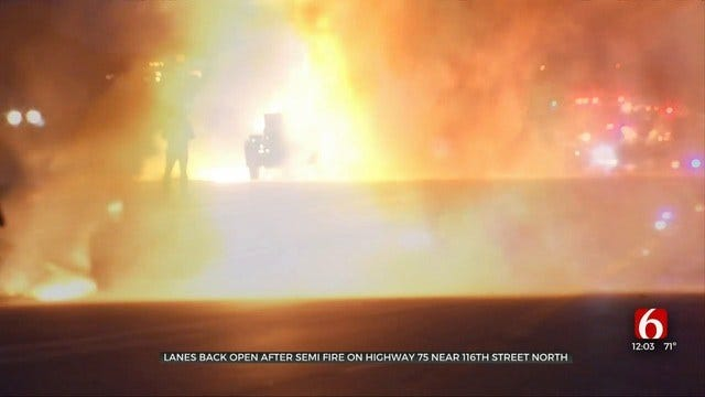 Flatbed Semi Catches Fire During Rush Hour In Tulsa County