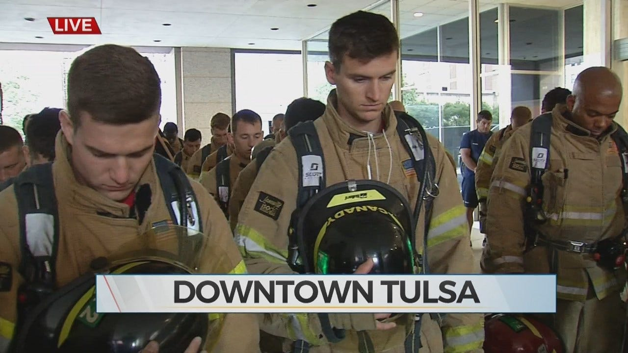 First Responders take Part In 9/11 Memorial Stair Climb In Tulsa