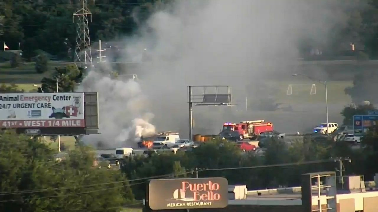 WATCH: Car Goes Up In Flames On 169
