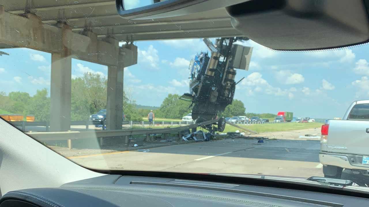 Semi-Truck Falls Off I-40 Overpass In Henryetta, Hangs Over Highway Below
