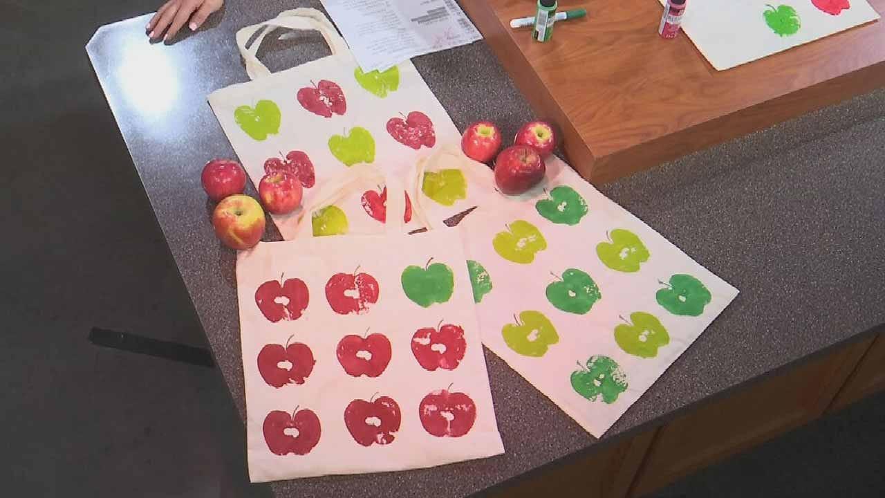 Apple Stamping Tote Bags