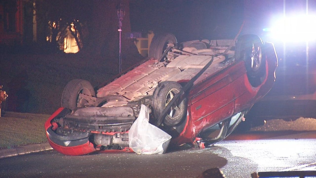Tulsa Police: Car Rolled Over After Ramping Off A Parked Flat Bed Truck