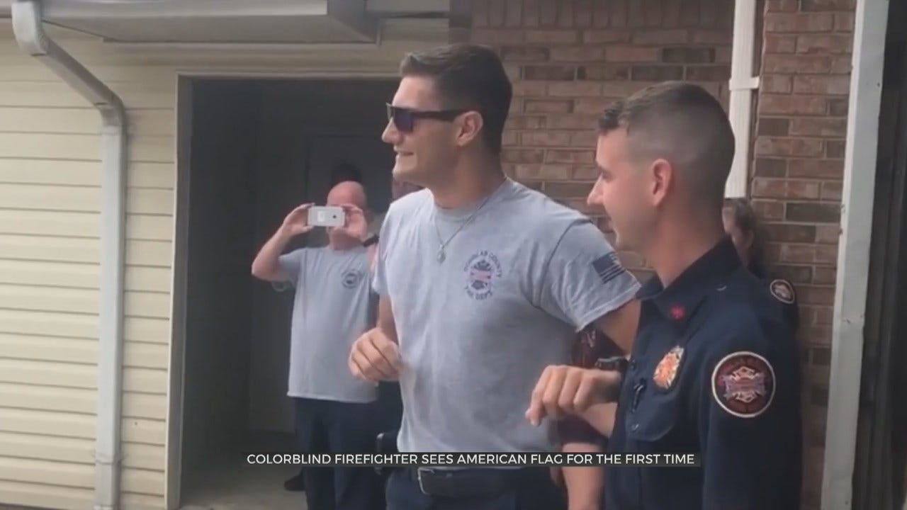 Colorblind Firefighter Overcome From Seeing The American Flag's Colors For 1st Time