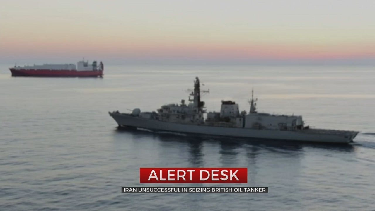 Britain Says Iranian Vessels Tried To Block Tanker In Gulf