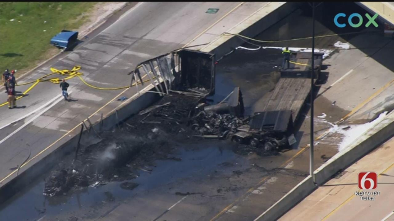 One Lane Of I-44 At Highway 169 Still Closed After Fiery Tulsa Semi Crash