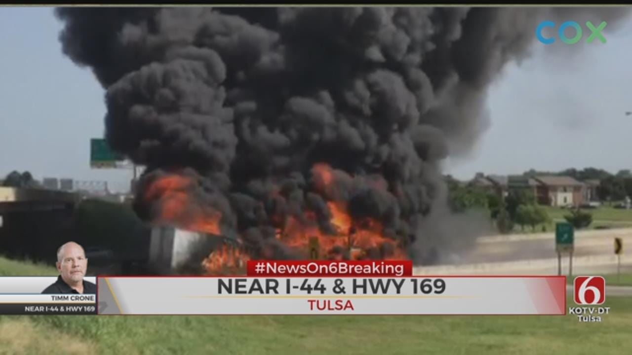 WATCH: Storm Tracker Video Of Fiery Crash On Interstate 44 At Highway 169