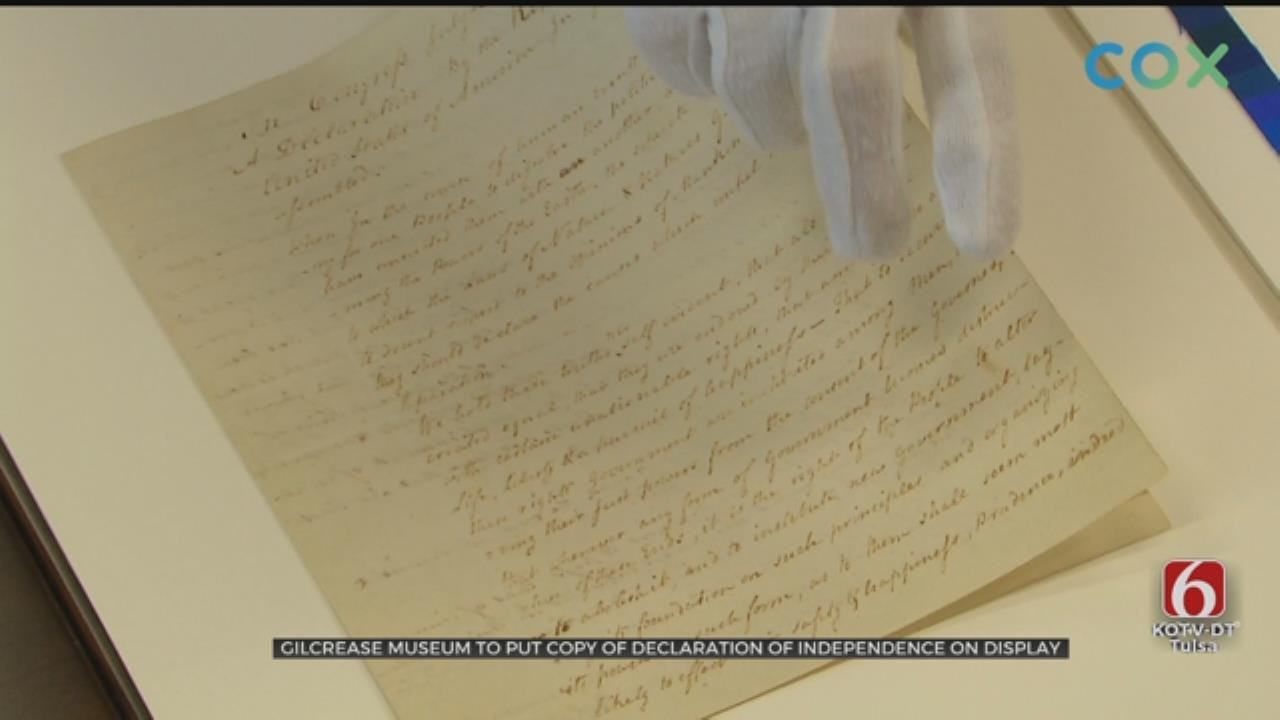 Hand-Written Copy Of Declaration Of Independence Held In Tulsa's Gilcrease Museum