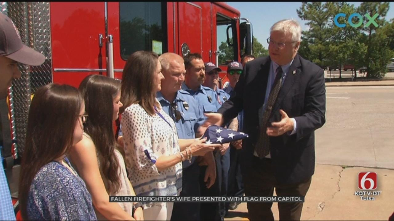 Claremore Firefighter's Widow Presented With Flag At State Capitol