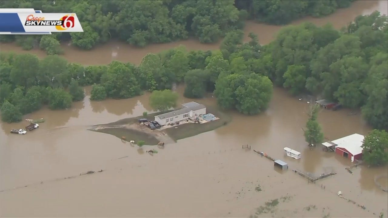 Osage SkyNews 6 Flies Over Bartlesville Flooding