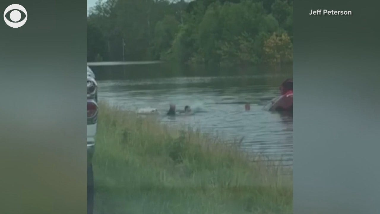 RESCUED: Strangers Help Driver From Sinking Car