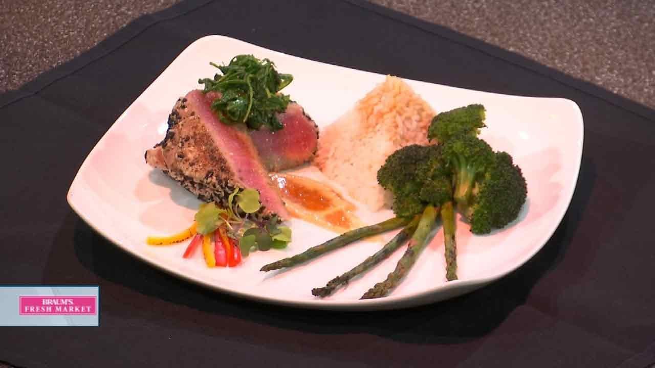 Sesame Seared Tuna With Arugula & Soy Ginger Puree
